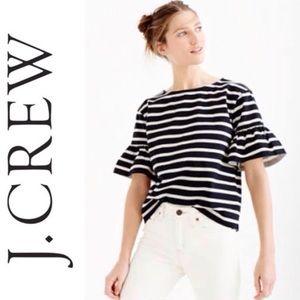 J. Crew Striped Ruffled Sleeve Top